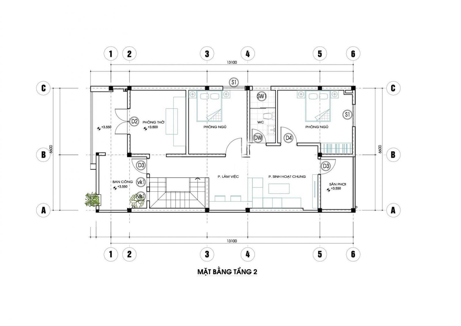 Mặt bằng tầng 2 mẫu nhà đẹp 2 tầng 3 phòng ngủ