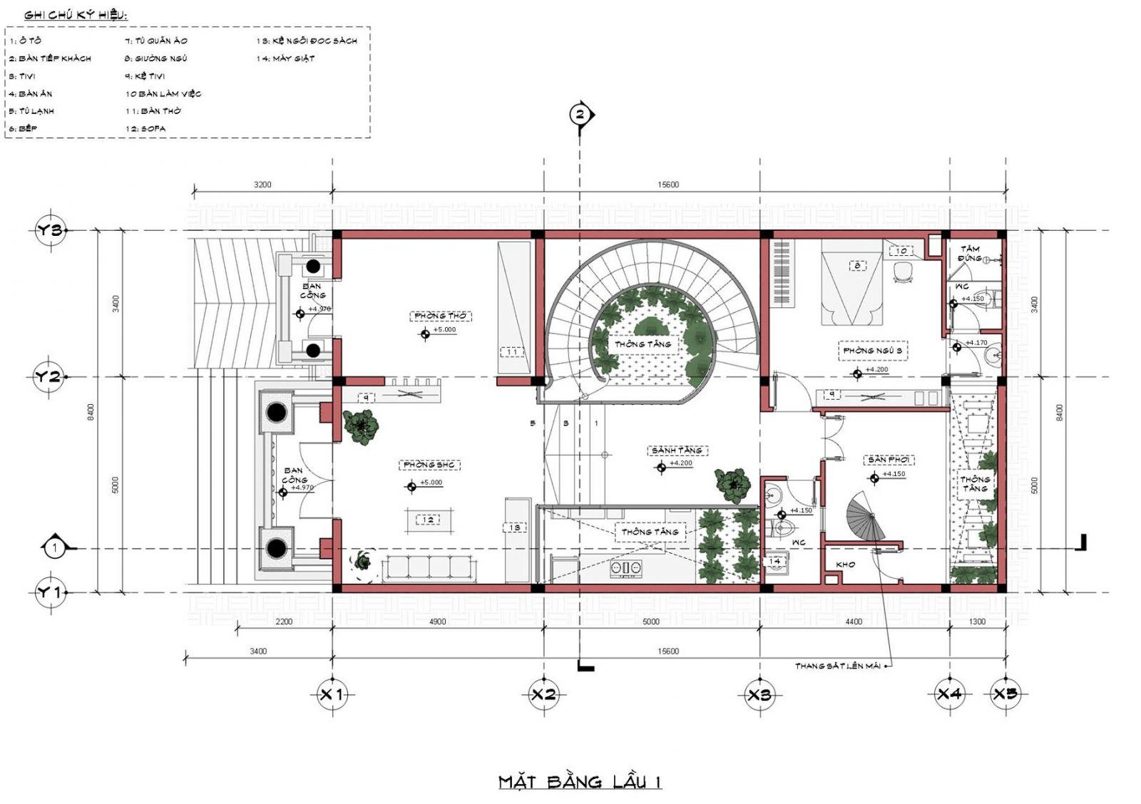 Mặt bằng tầng 2 nhà mặt phố mái thái 2 tầng