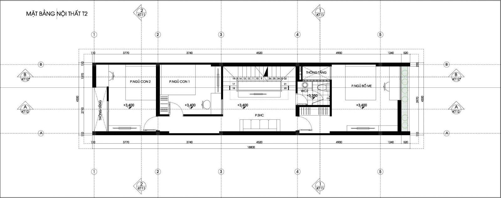 mặt bằng tâng 2 nhà phố 4x19m 4 tầng