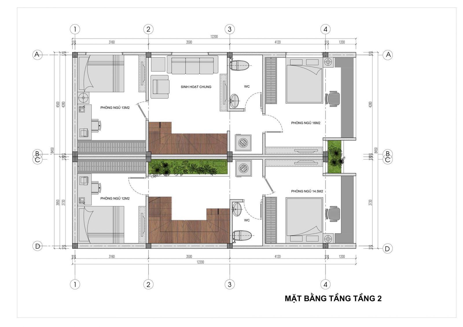 Mặt bằng tầng 2 Mẫu nhà phố đẹp 2.5 tầng