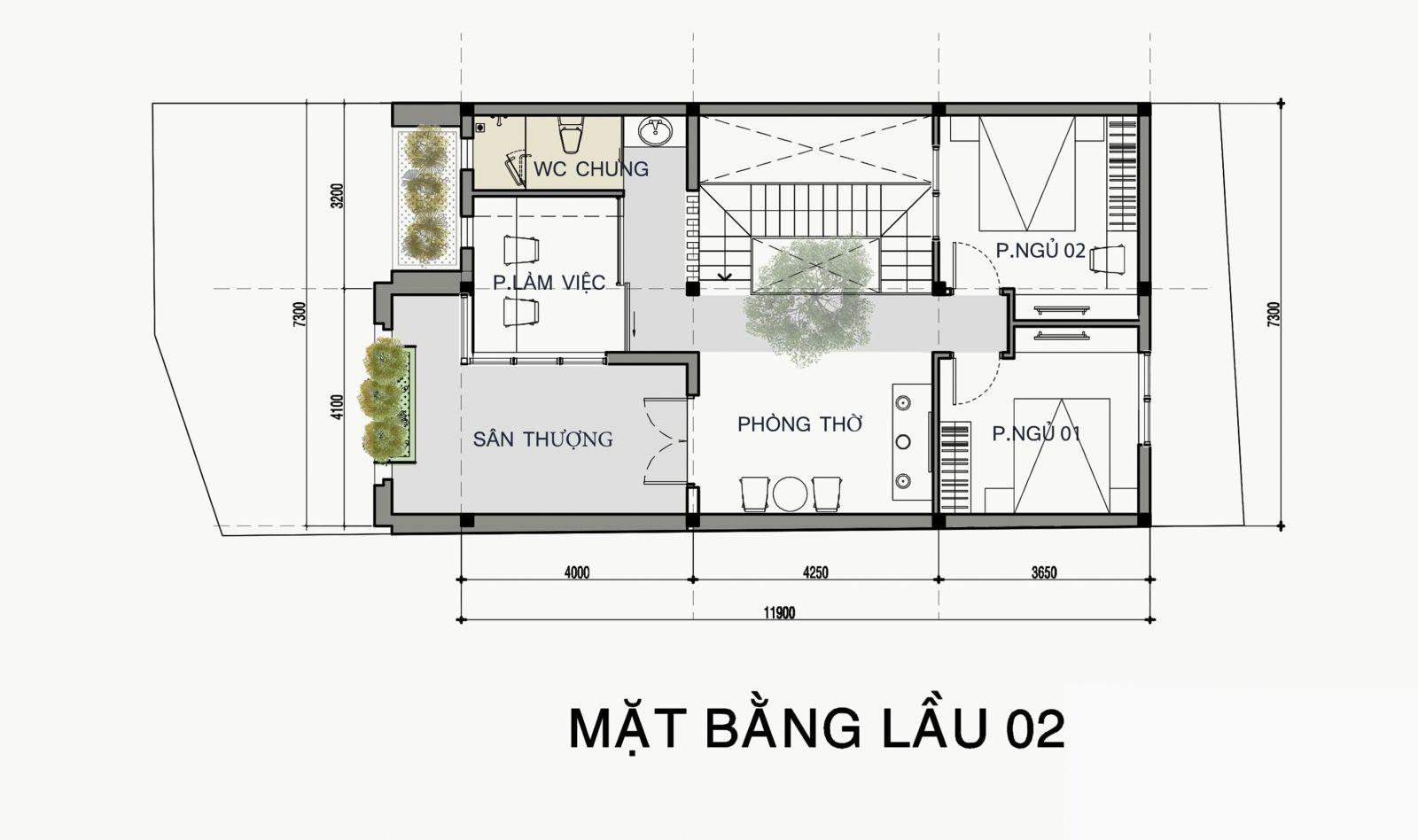 Mặt bằng lầu 2 mẫu thiết kế Nhà phố 1 trệt 2 lầu đẹp