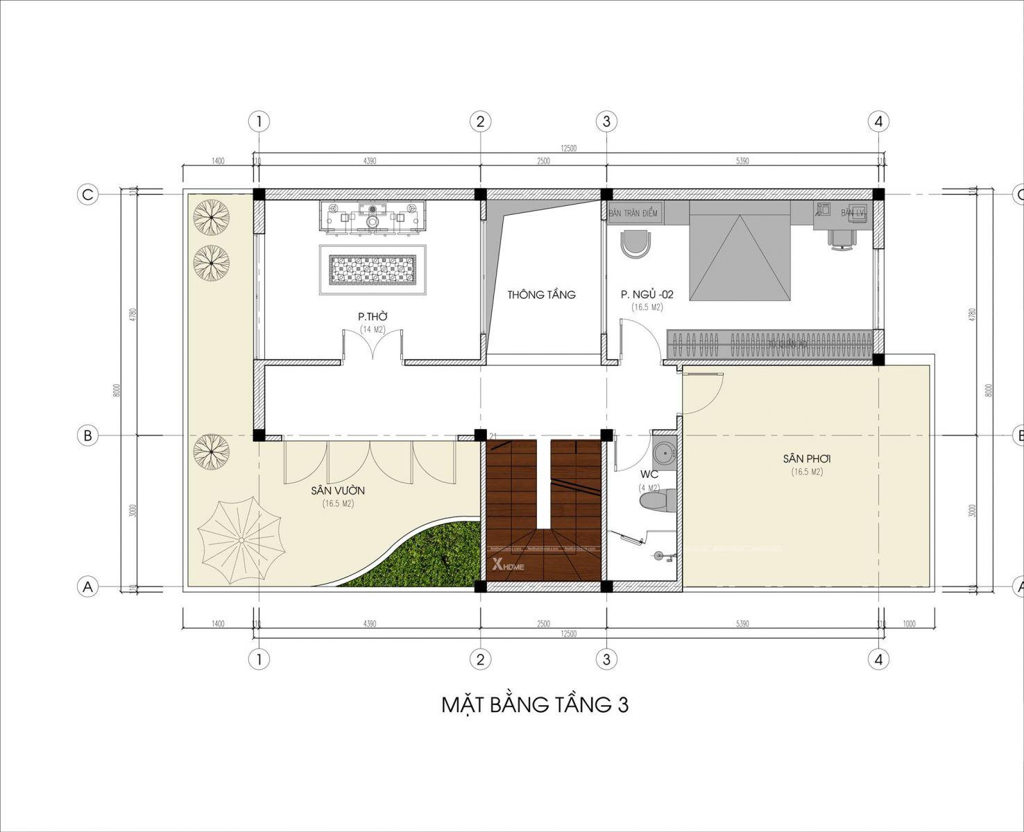 Tư vấn thiết kế Biệt thự hiện đại 3 tầng 8x20m (160 m2)