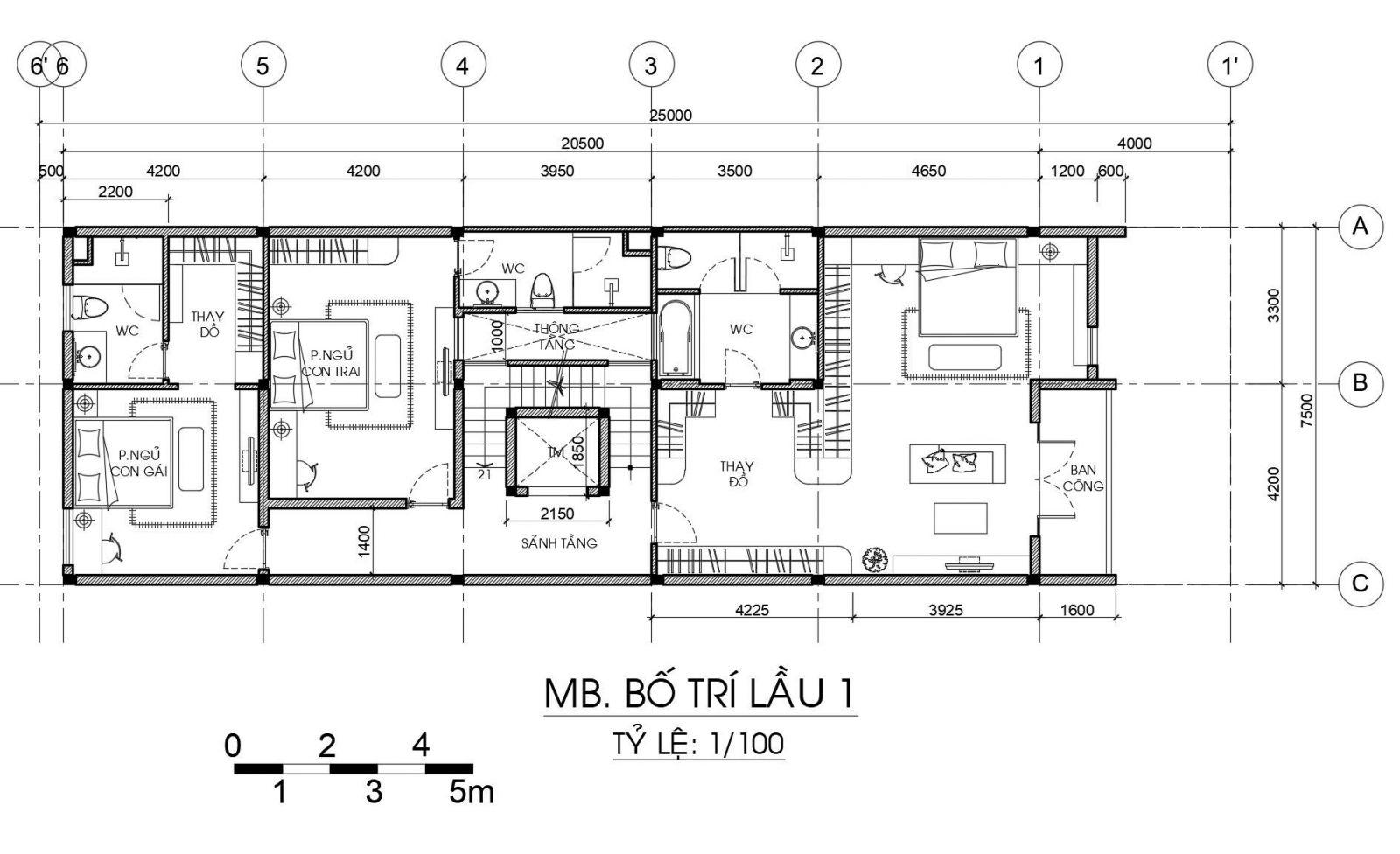 Mặt bằng tầng 3 nhà phố 4 tầng 4 phòng ngủ