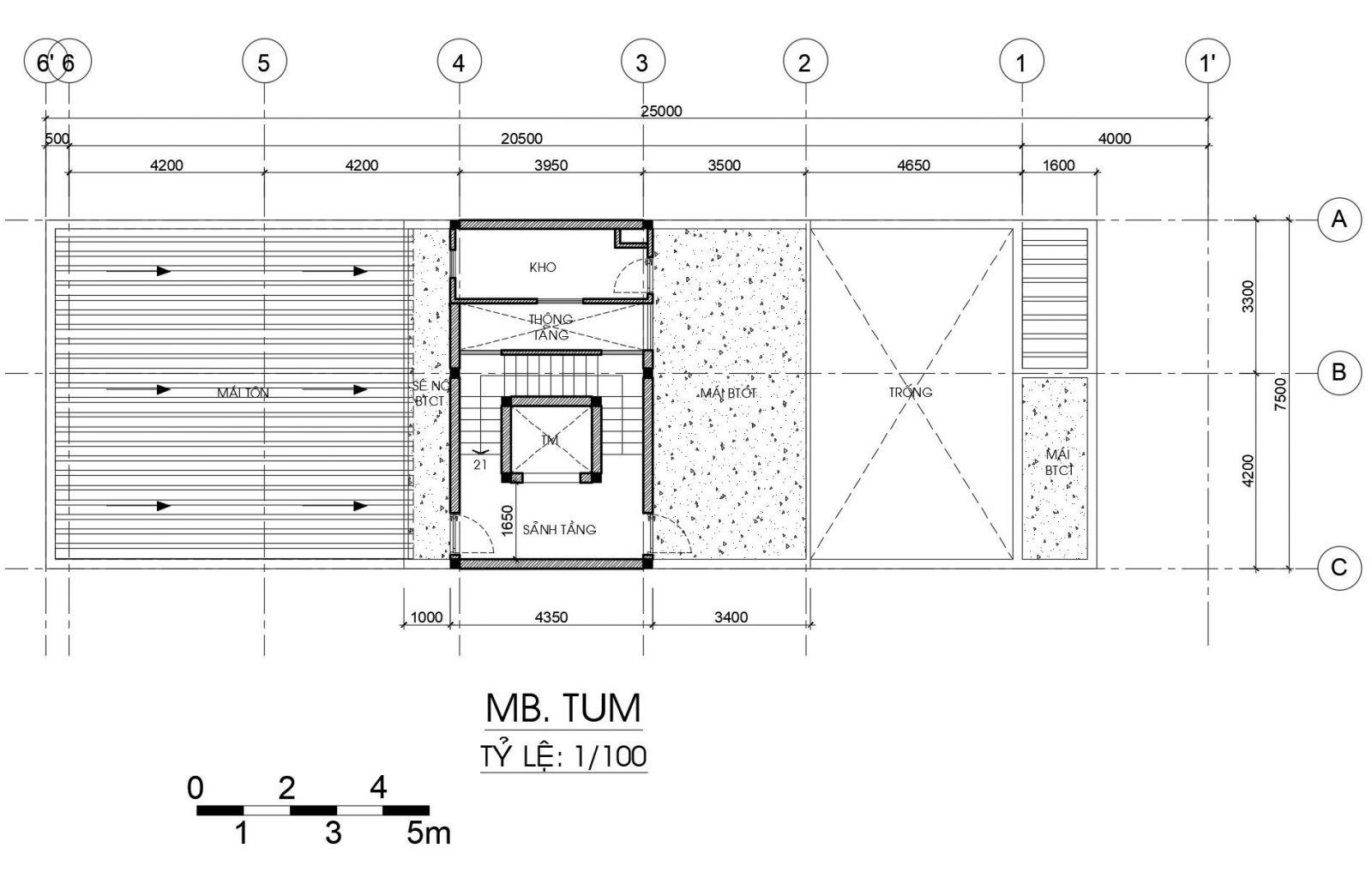 Thiết kế Nhà 1 trệt 1 lửng 1 lầu 1 sân thượng