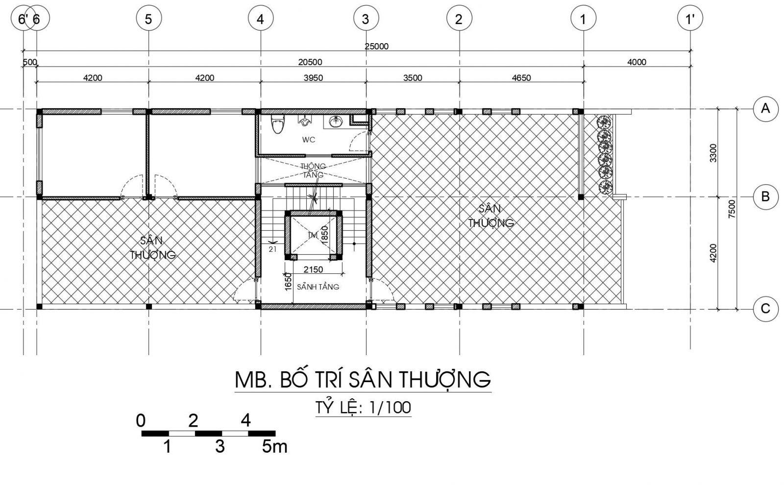 Mẫu Nhà 1 trệt 1 lửng 1 lầu 1 sân thượng