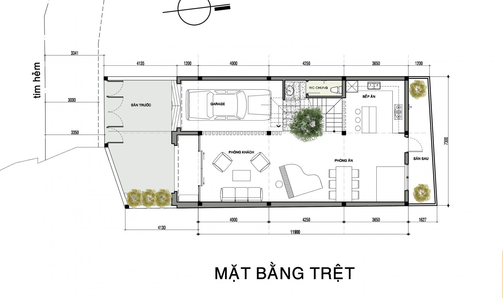 Mặt bằng mẫu thiết Nhà phố 1 trệt 2 lầu đẹp
