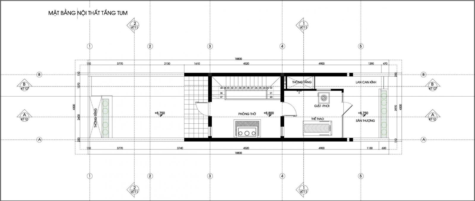 Mặt bằng tầng tum nhà phố 4x19m 4 tầng