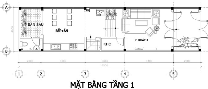 Mặt bằng tầng 1 nhà phố 4 tầng mặt tiền 4m