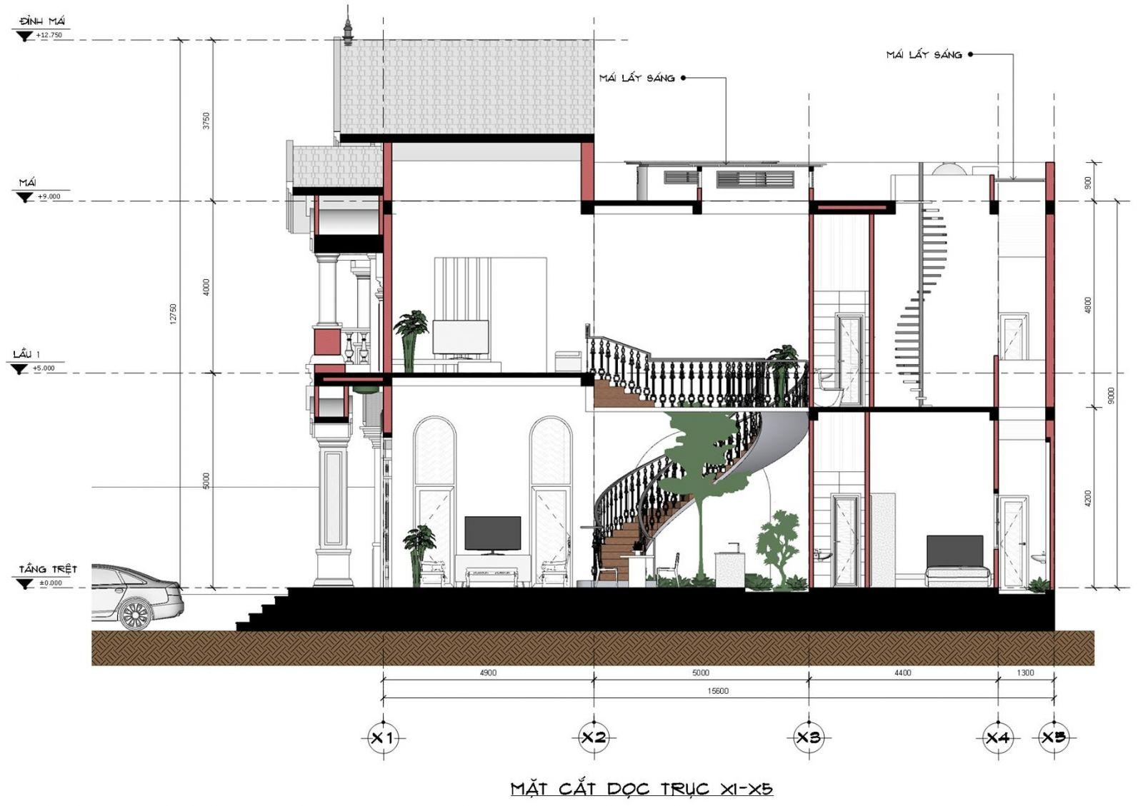 Mặt cắt nhà mặt phố mái thái 2 tầng