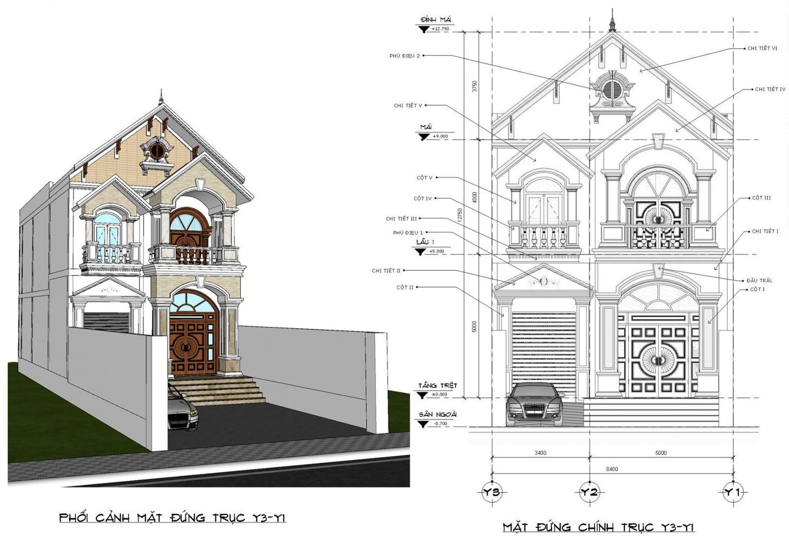 Mặt đứng 2 nhà mặt phố mái thái 2 tầng