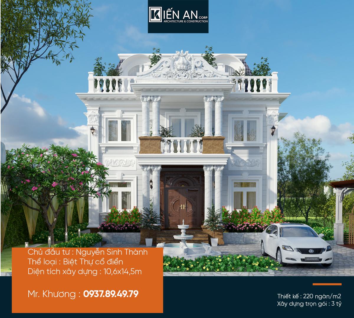 Biệt thự cổ điển 3 tầng – Mẫu thiết kế biệt thự đơn lập nguy nga tráng lệ