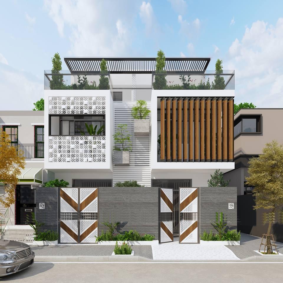 Mặt đứng mẫu nhà phố đẹp 2.5 tầng