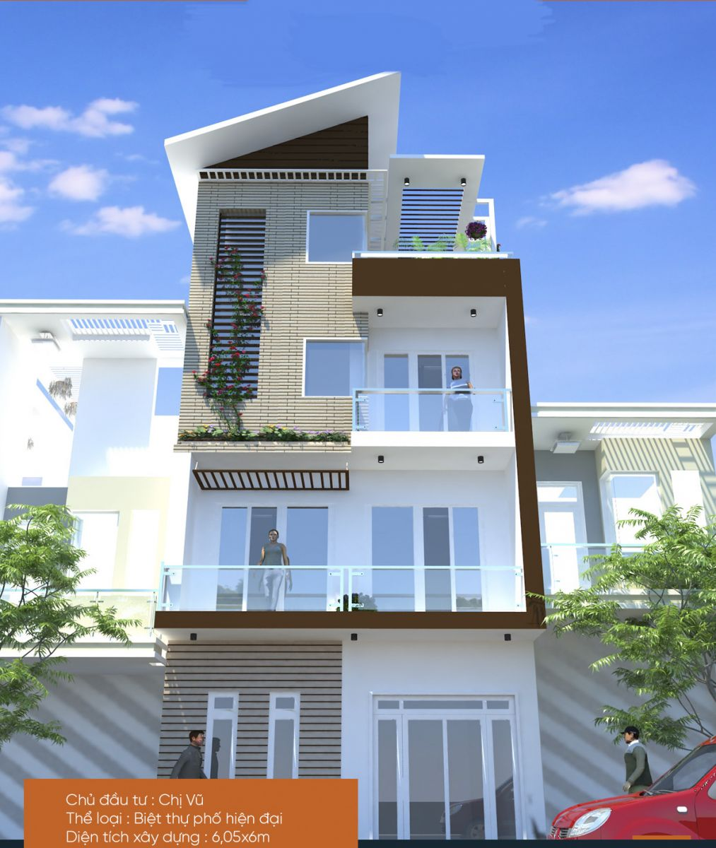 mặt đứng nhà phố mẫu thiết kế nhà phố 4 tầng đẹp hiện đại 6x6,6m