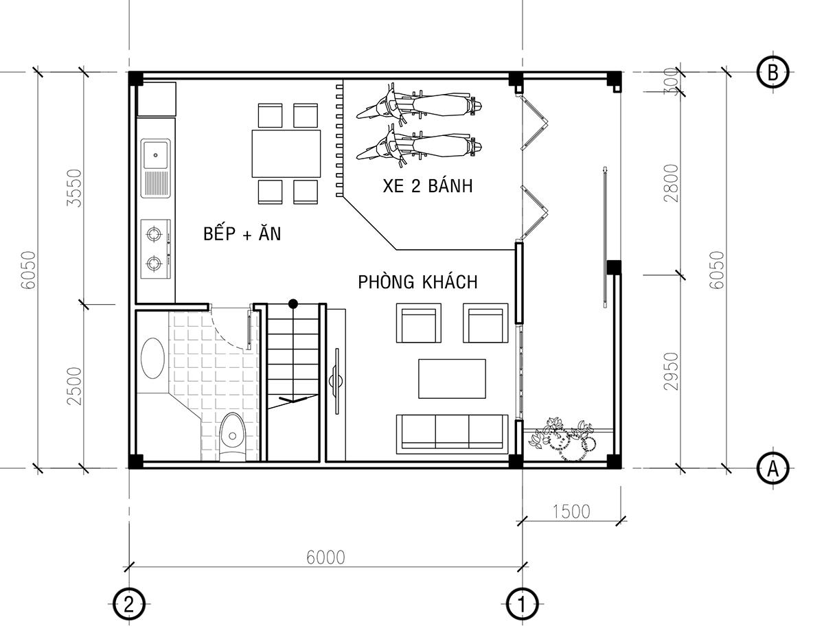 mặt bằng tầng 1 thiết kế nhà phố 4 tầng đẹp hiện đại