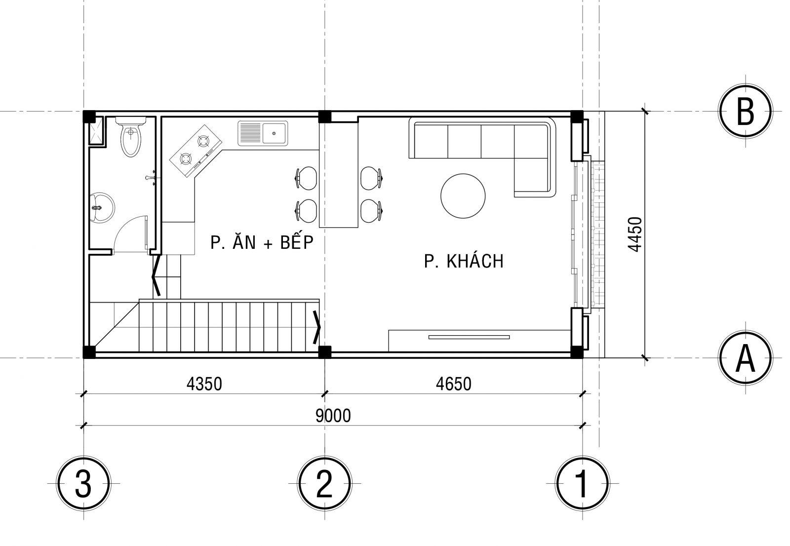 mẫu thiết kế Nhà phố hiện đại 9x4,5m 3 phòng ngủ