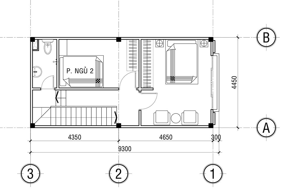 mẫu Nhà phố hiện đại 9x4,5m 3 phòng ngủ