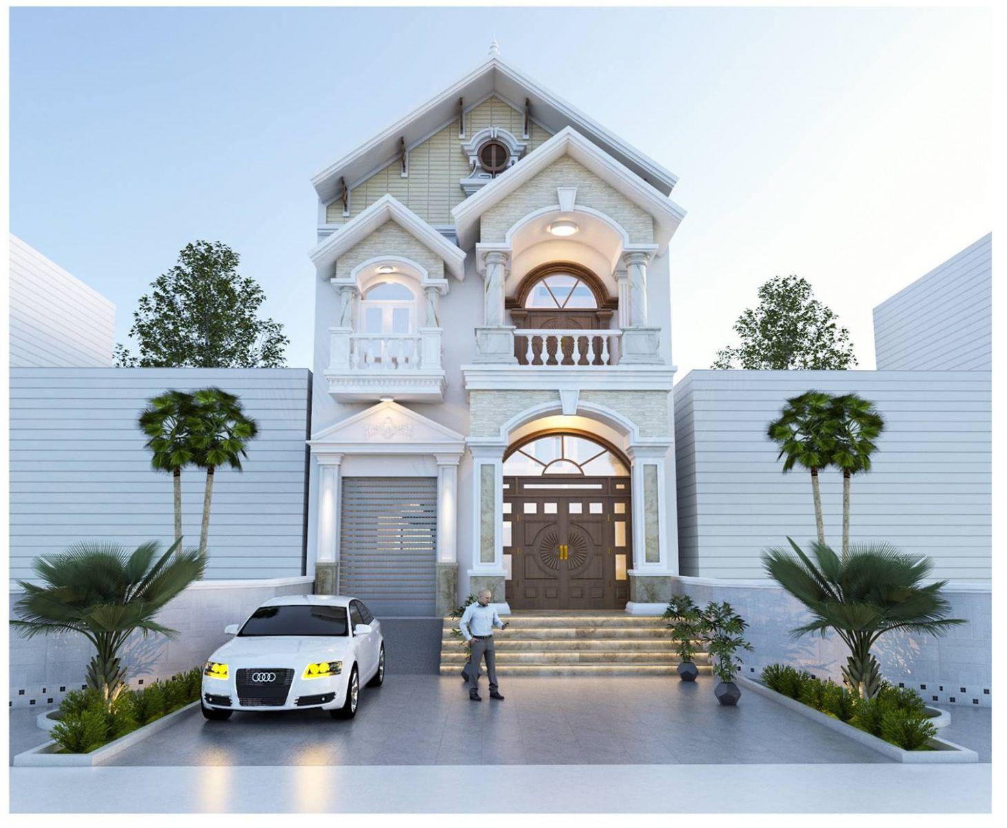Nhà mặt phố mái thái 2 tầng – Mẫu thiết kế tiết kiệm + vẻ đẹp sang trọng