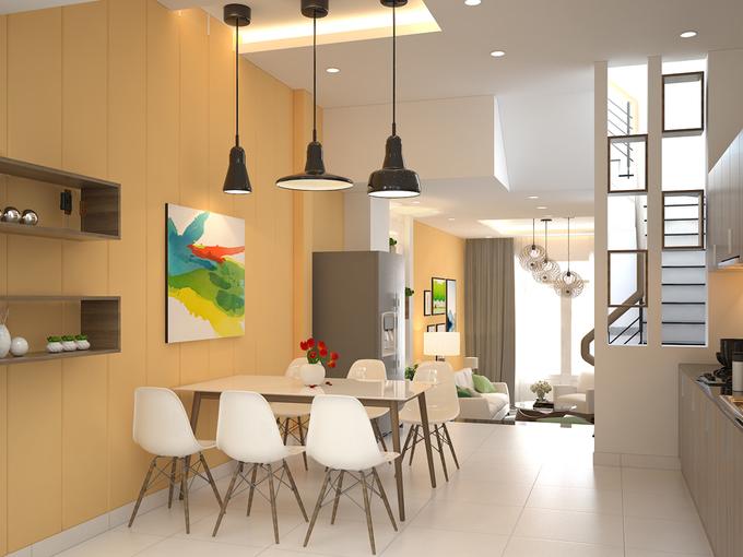 Bố trí nội thất phòng bếp mẫu nhà phố 4 tầng mặt tiền 4m