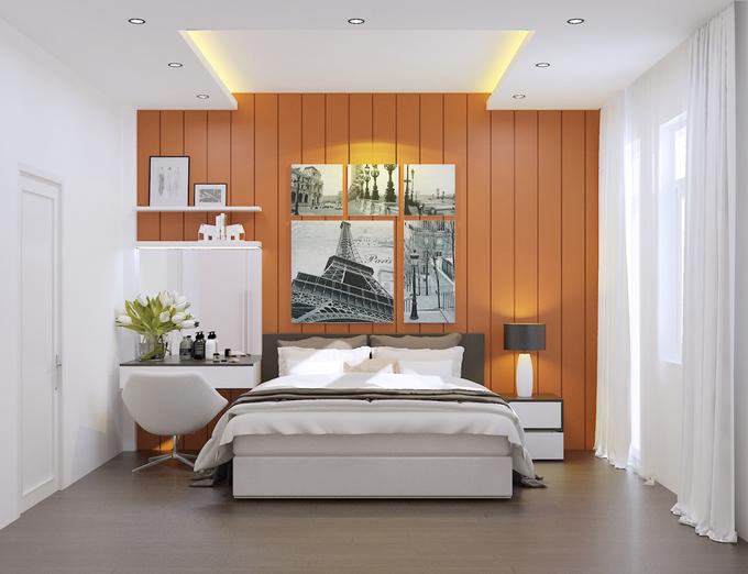 Bố trí nội thất phòng ngủ 1 nhà phố 4 tầng mặt tiền 4m