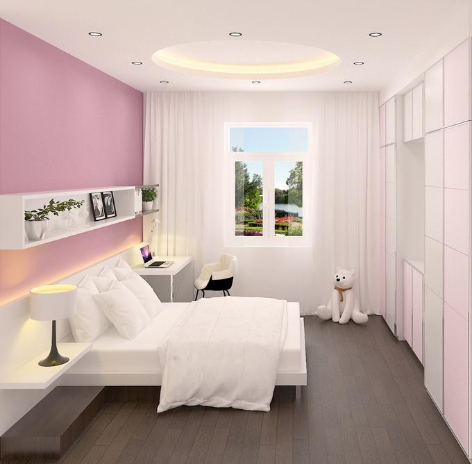Bố trí nội thất phòng ngủ 2 nhà phố 4 tầng mặt tiền 4m