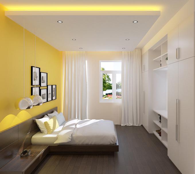 Bố trí nội thất phòng ngủ 3 thiết kế nhà phố 4 tầng mặt tiền 4 m