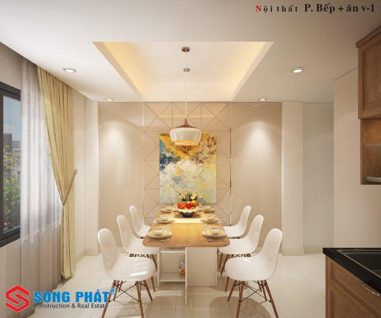 Nội thất phòng ăn nhà phố 4 tầng đẹp phong cách hiện đại trẻ trung
