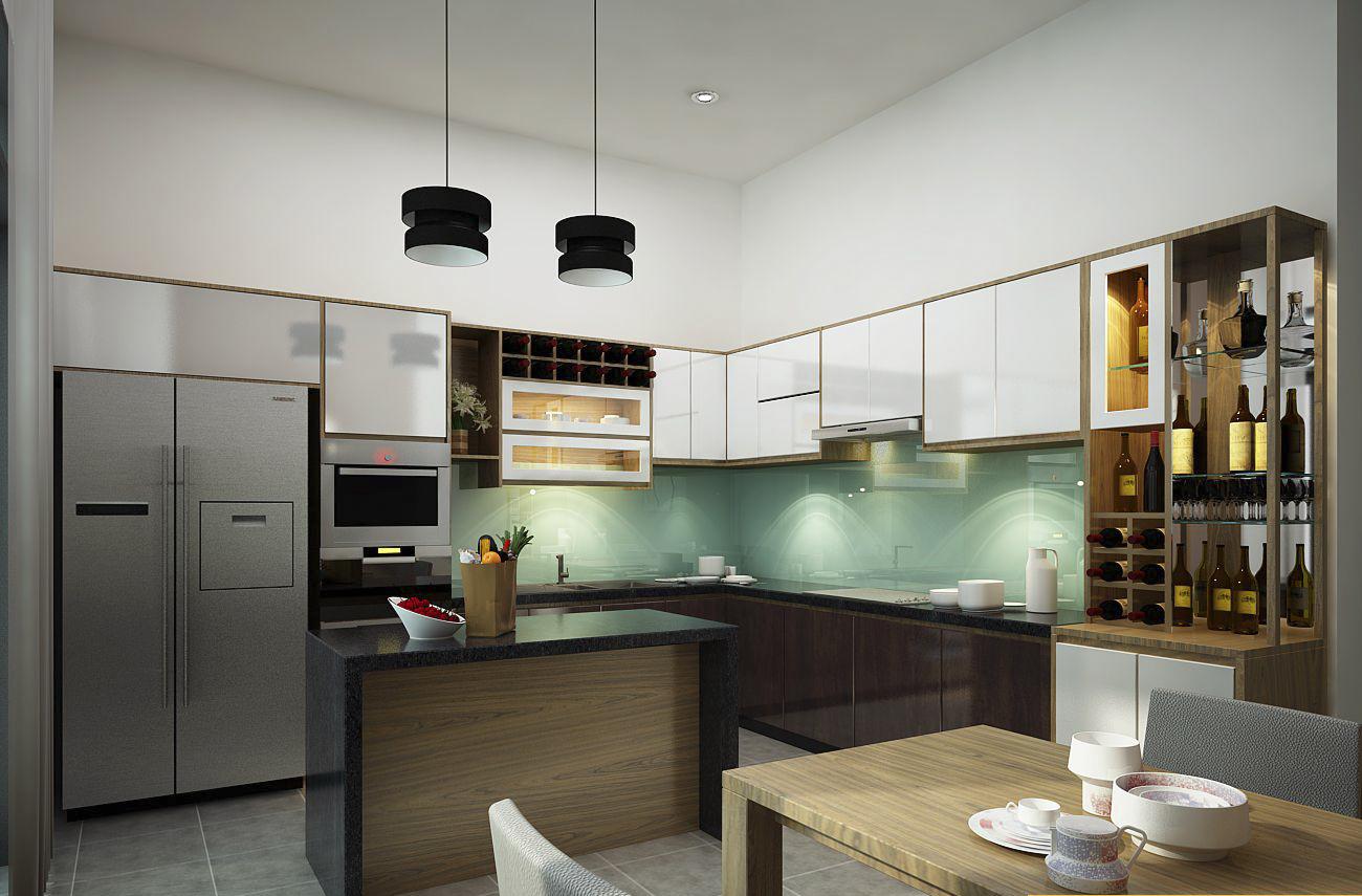 Nội thất phòng bếp nhà phố đẹp 2 tầng thiết kế hiện đại thu hút nhẹ nhàng