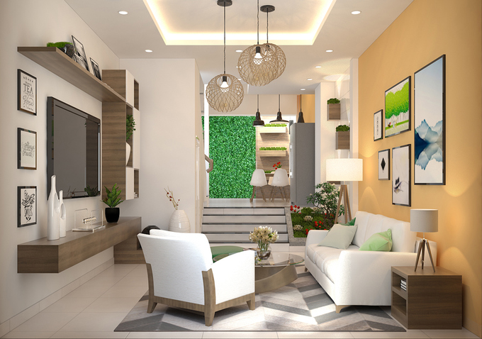 Bố trí nội thất phòng khách nhà phố 4 tầng mặt tiền 4m