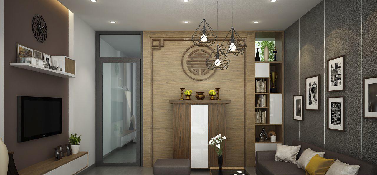 Nội thất phòng khách nhà phố đẹp 2 tầng thiết kế hiện đại thu hút nhẹ nhàng