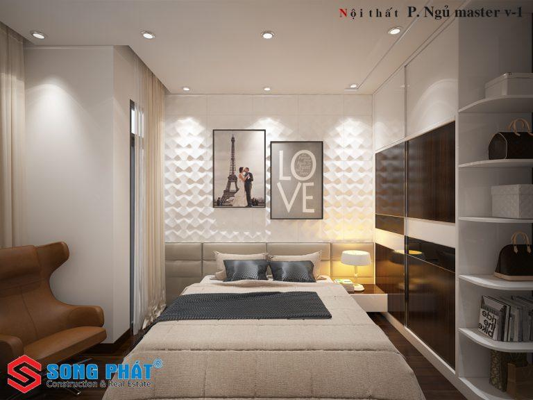 Nội thất phòng ngủ 1 nhà phố 4 tầng đẹp phong cách hiện đại trẻ trung