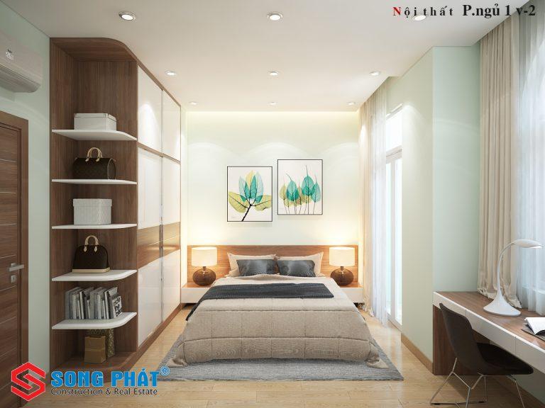 Nội thất phòng ngủ 2 nhà phố 4 tầng đẹp phong cách hiện đại trẻ trung
