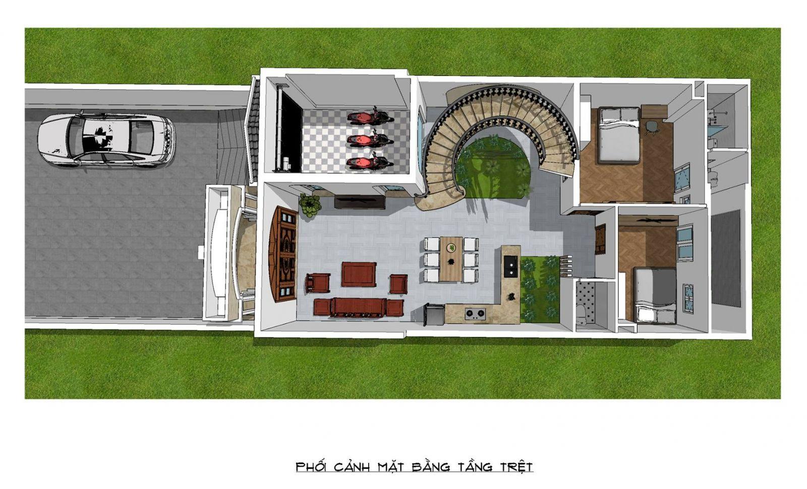 Phối cảnh mặt bằng nhà mặt phố mái thái 2 tầng