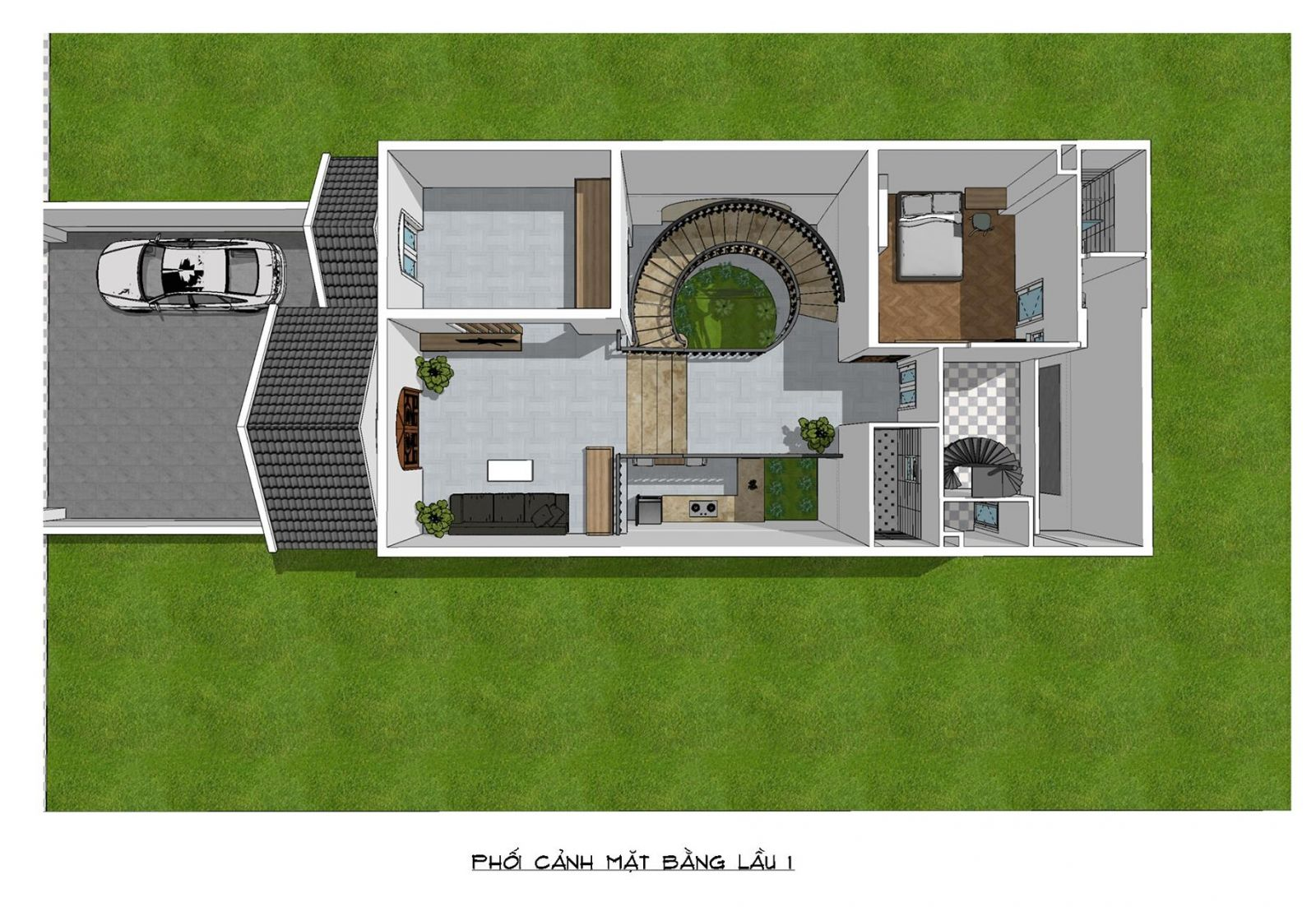 Phối cảnh mặt bằng tầng 2 nhà mặt phố mái thái 2 tầng