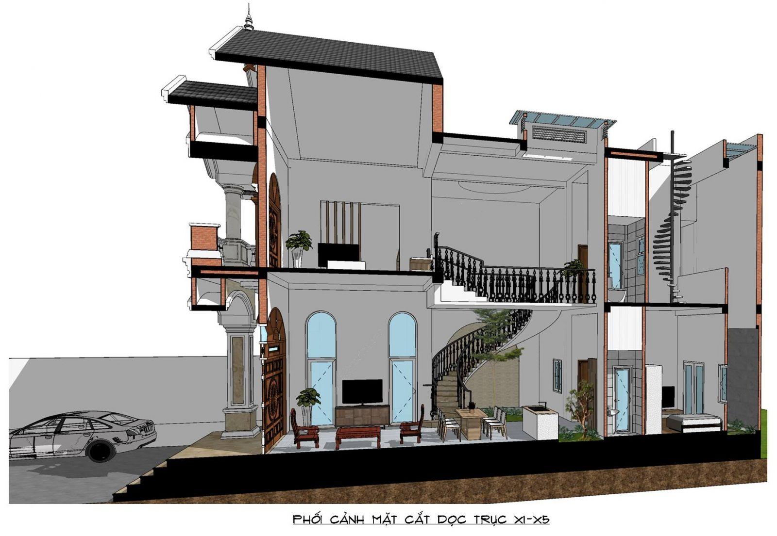Phối cảnh mặt cắt nhà mặt phố mái thái 2 tầng