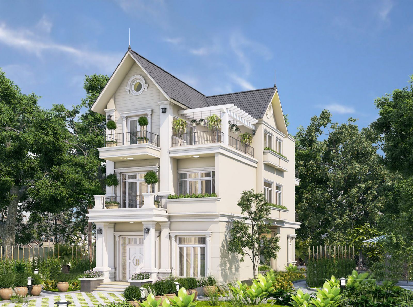 Biệt thự 3 tầng tân cổ điển đẹp – Tư vẫn miễn phí mẫu thiết kế tuyệt đẹp