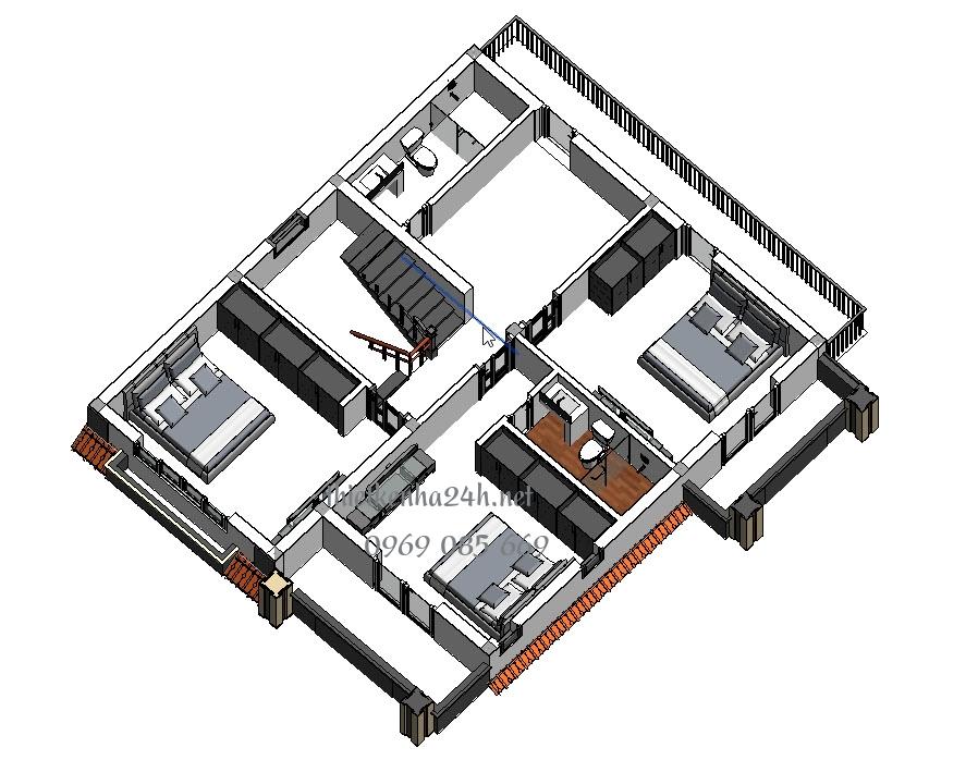 Biệt thự 2 tầng 220m2 – Ngắm nhìn mẫu Biệt thự hiện đại ở nông thôn t2 biet thu 2t