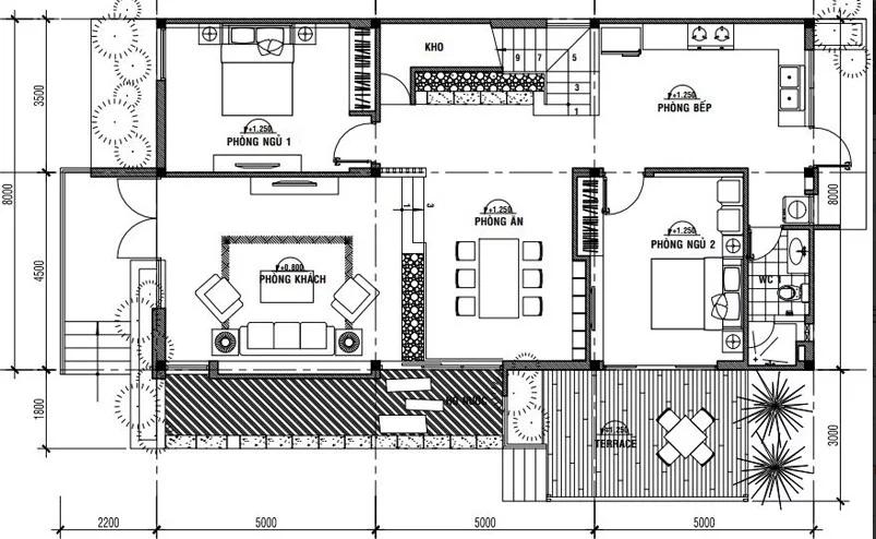 Mặt bằng tầng 1 mẫu thiết kế nhà mái thái 2 tầng 8x15m