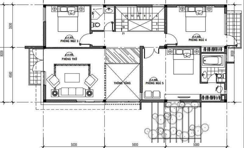 mặt bằng tầng 2 mẫu nhà phố 2 tầng mái thái 8x15m