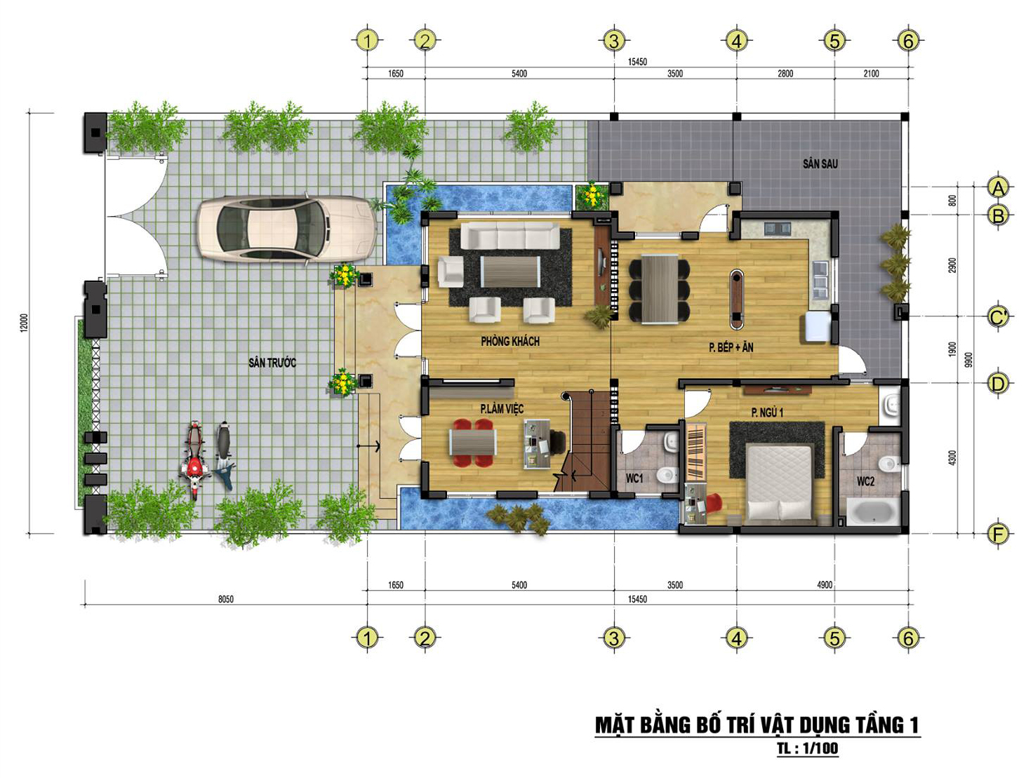 Mặt bằng tầng 1 mẫu nhà phố đẹp 3 tầng