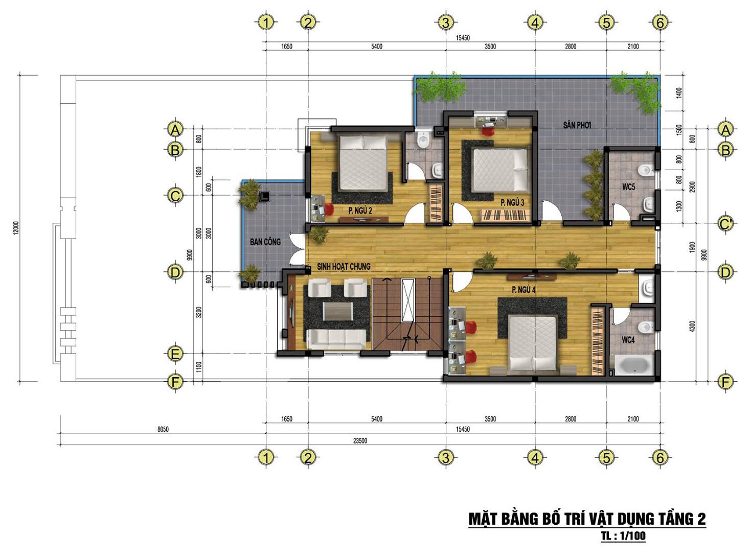 Mặt bằng tầng 2 mẫu nhà phố đẹp 3 tầng