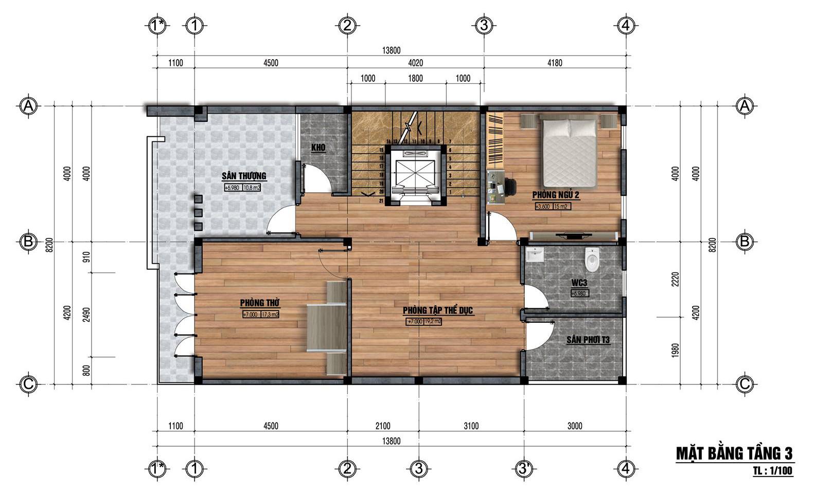 Mặt bằng tầng 3 mẫu nhà đẹp 8x14m