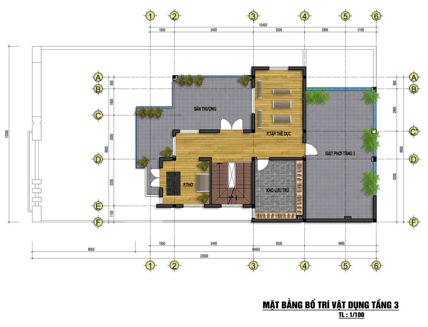 Mặt bằng tầng 3 mẫu nhà phố đẹp 3 tầng