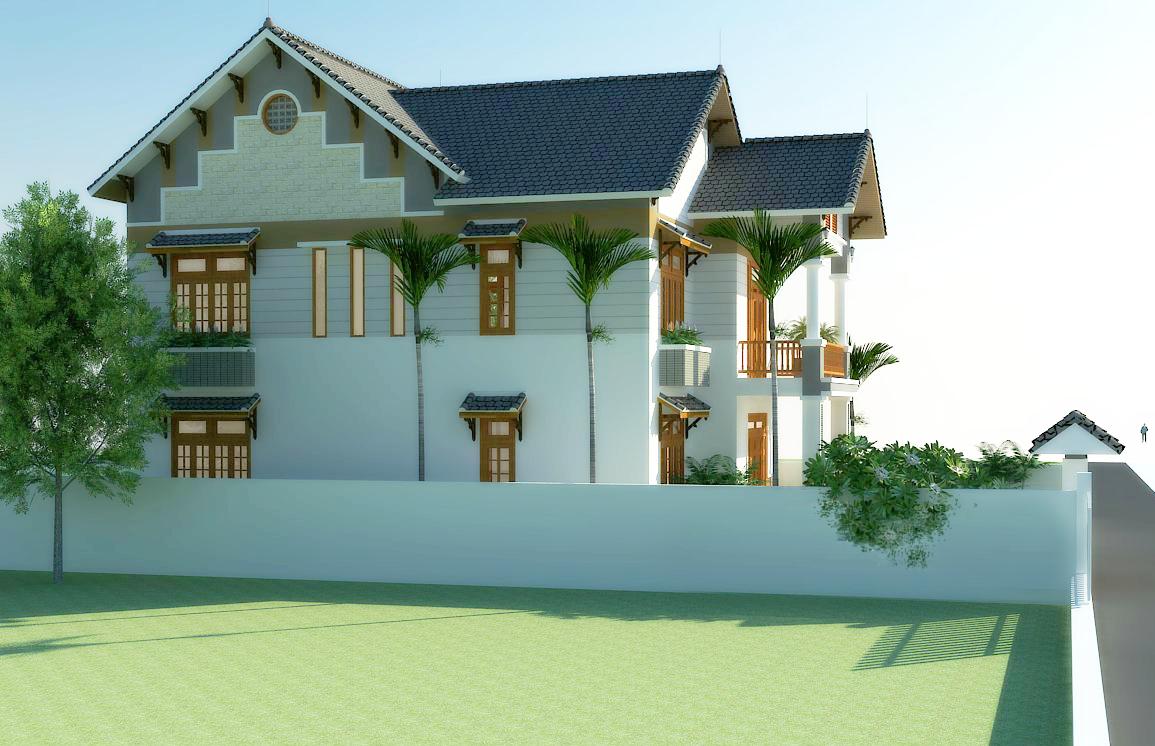 Mặt bên 2 mẫu nhà 2 tầng mái thái