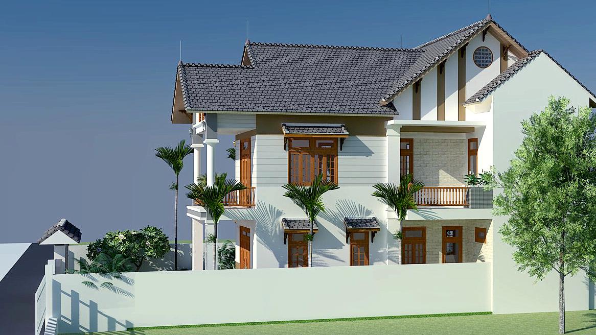 Mặt bên mẫu nhà 2 tầng mái thái