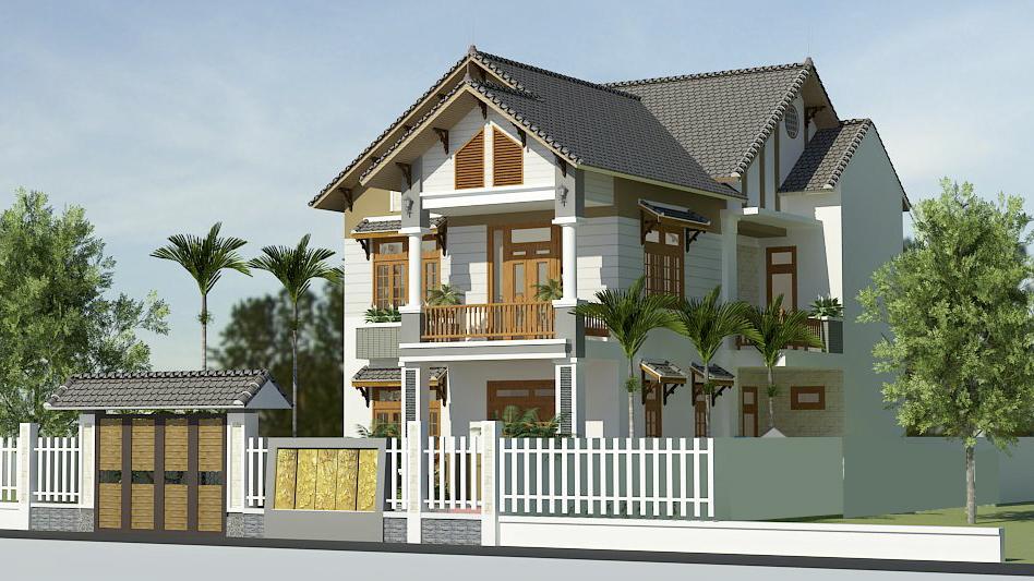 Phối cảnh mẫu nhà 2 tầng mái thái