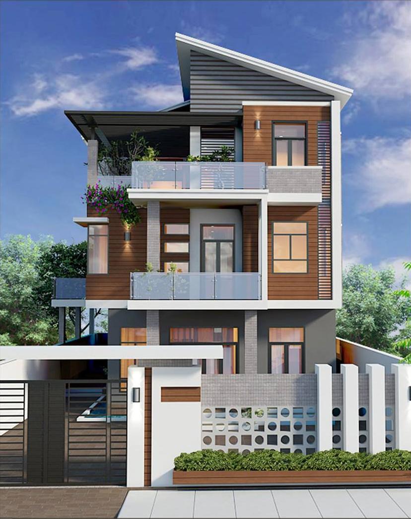 Mặt đứng mẫu nhà phố đẹp 3 tầng