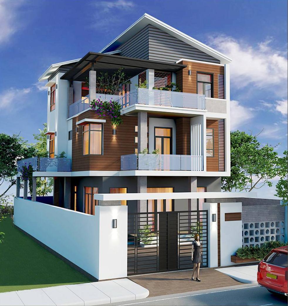 Phối cảnh mẫu nhà phố đẹp 3 tầng