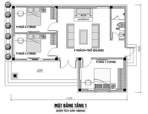 nhà cấp 4 3 phòng ngủ