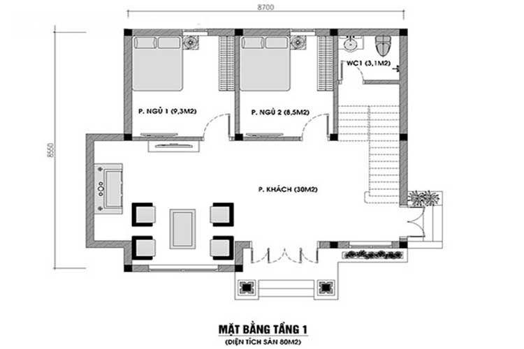 mẫu nhà cấp 4 2 phòng ngủ