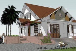 Bản vẽ nhà cấp 4 hình chữ L đẹp phong cách mái thái hiện đại 2021